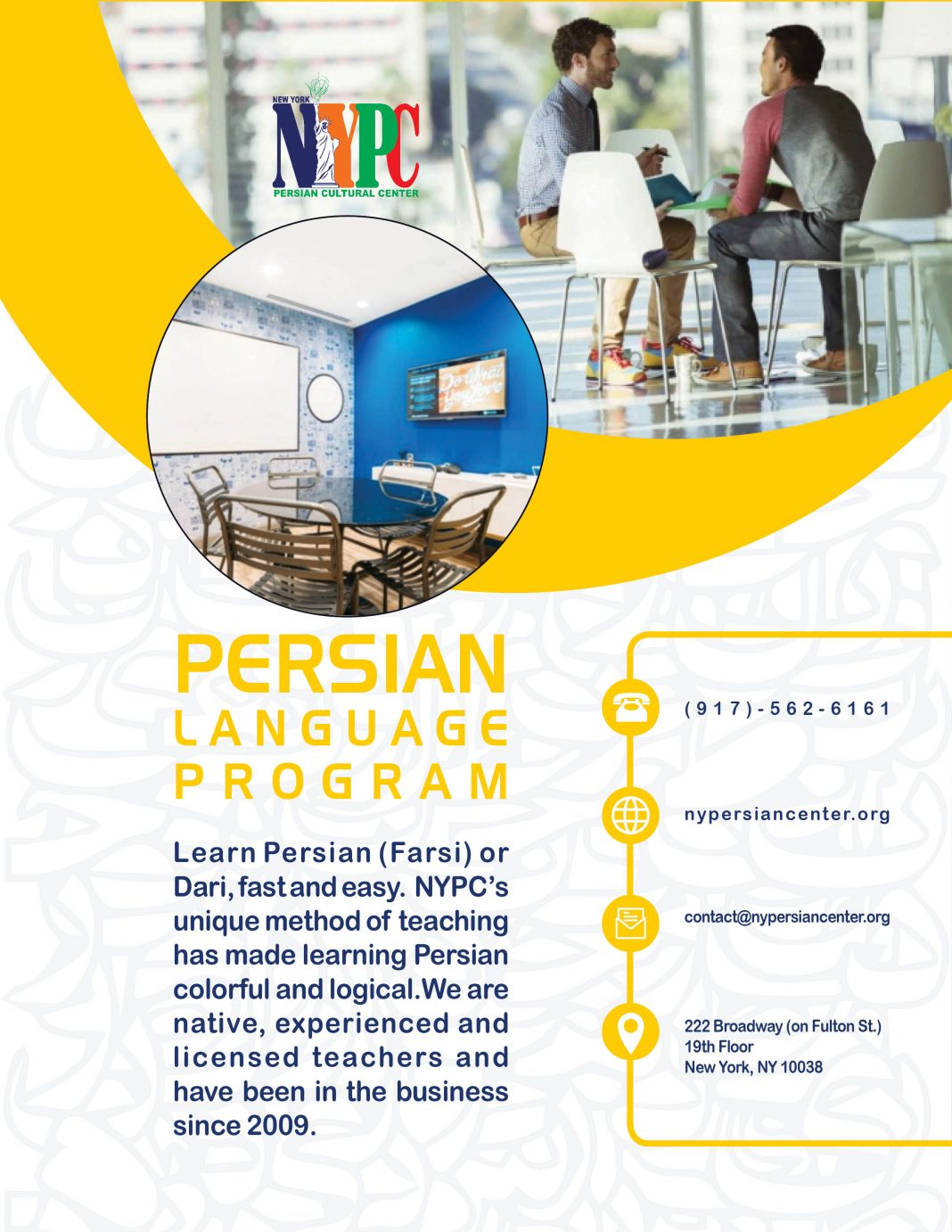 Fall 2019: Registeration for Persian Language classes at